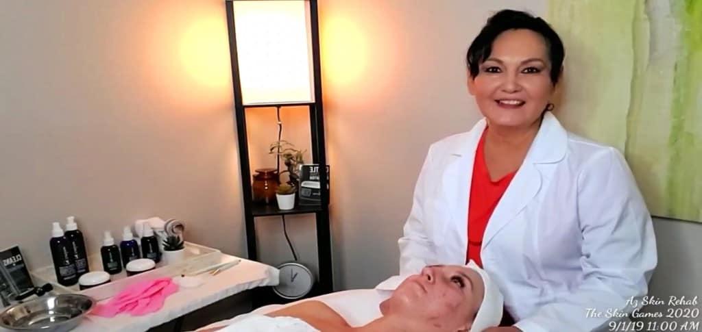 Faith Yanez doing a treatment