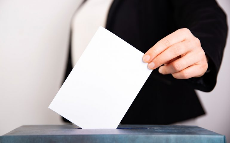Woman votes on election day.